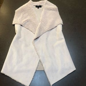 Winter white suede and fur vest